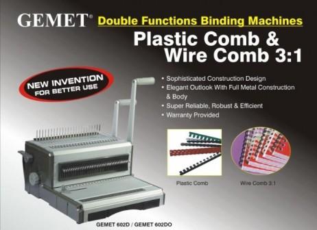 Mesin Jilid Binding Kawat dan Plastik GEMET 602D-602DO ukuran folio f4