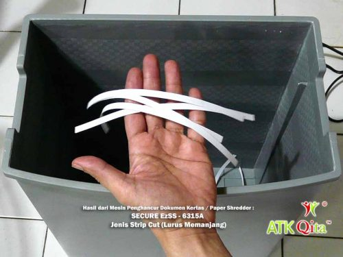 Hasil Strip Cut Mesin Penghancur Kertas SECURE EzSS-6315A