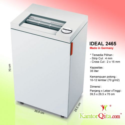 Mesin Penghancur Kertas Paper Shredder IDEAL 2465 SC - Strip Cut - AtkQita