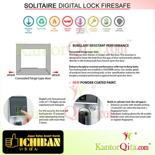 Brankas ICHIBAN RDD All Solitaire Digital Lock Tahan Api Description