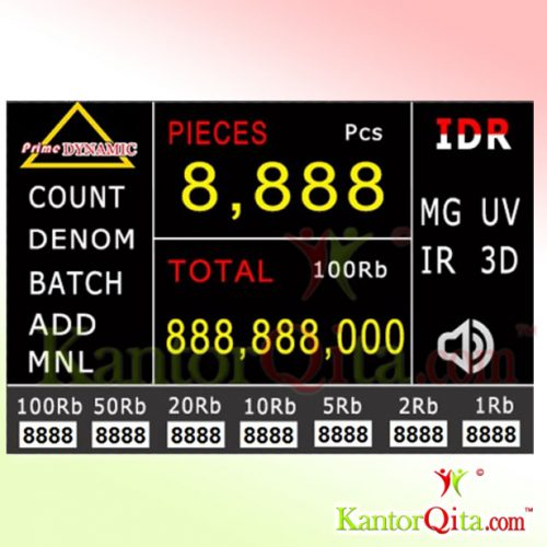 Mesin Hitung Deteksi Uang Palsu PRIME DYNAMIC 996 Layar Display