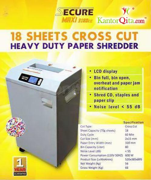 Mesin Penghancur Kertas Paper Shredder SECURE Maxi 3180 CC