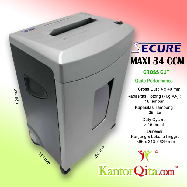 Mesin Penghancur Kertas Paper Shredder Secure Maxi 34 CCM Cross Cit