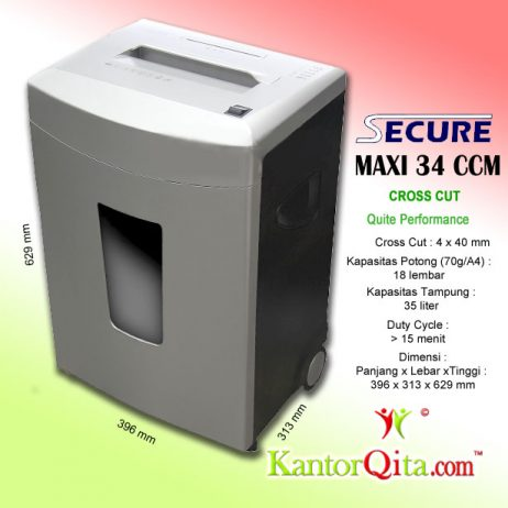 Mesin Penghancur Kertas Paper Shredder Secure Maxi 34 CCM Cross Cut